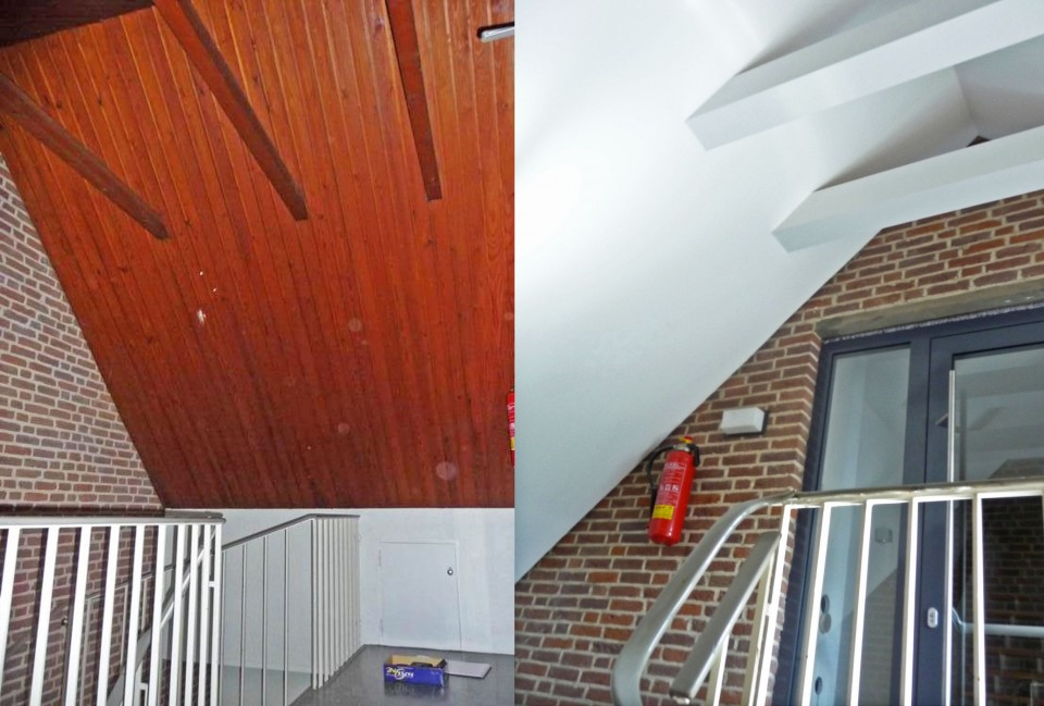 Decke Treppenhaus / Vorher   Nachher