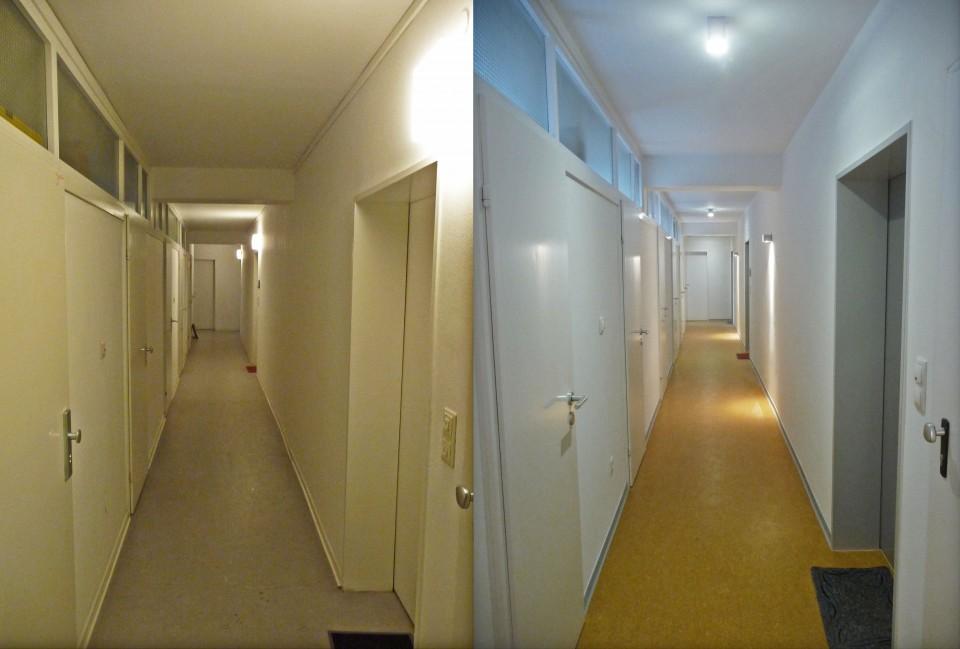 Treppenhaus brandschutz kann man gestalten - Flur vorher nachher ...